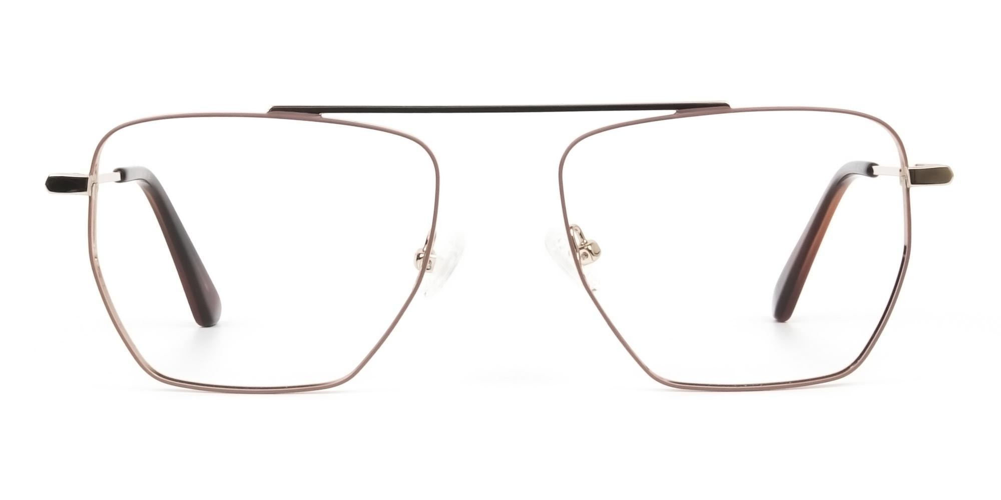 Lightweight Brown and Rose Gold Wire Frame Glasses Men Women - 1