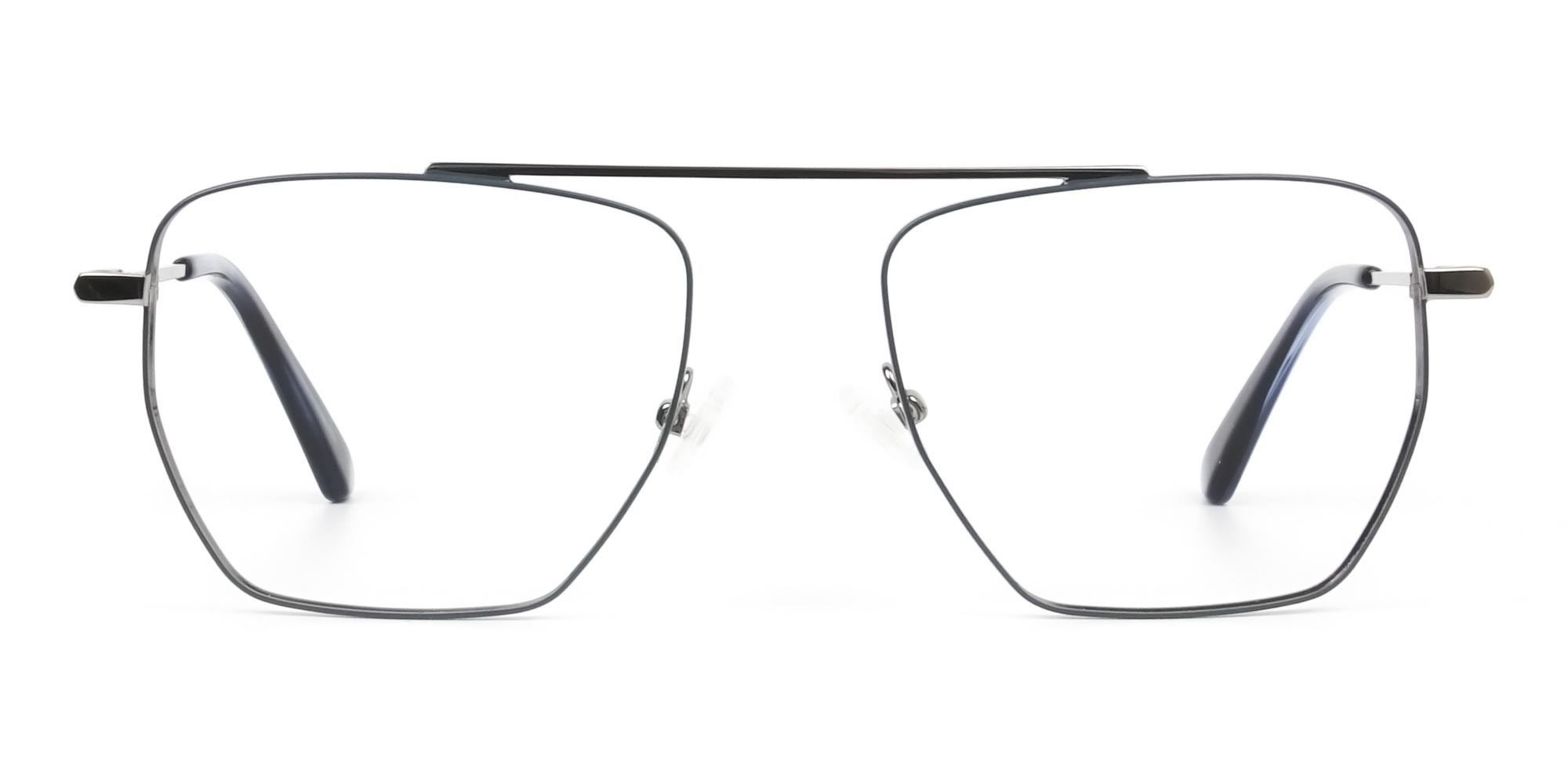 Silver and Royal Blue Wire Frame Glasses Men Women - 1
