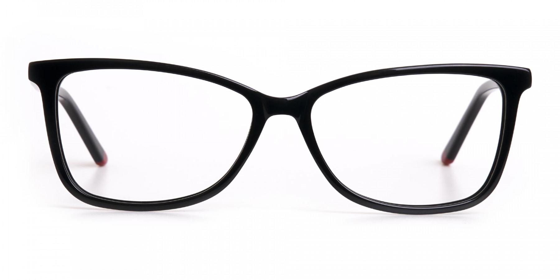 Black Cat-Eye Rectangular Eyeglasses Frame Women -1