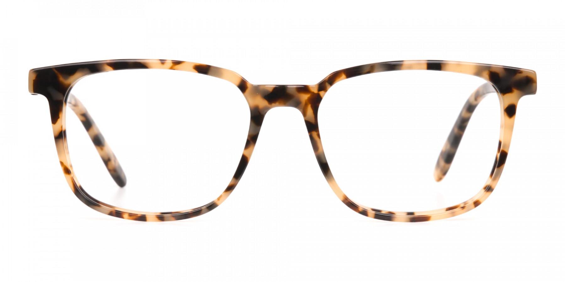 Cream Tortoise Rectangular Glasses Acetate Unisex-1