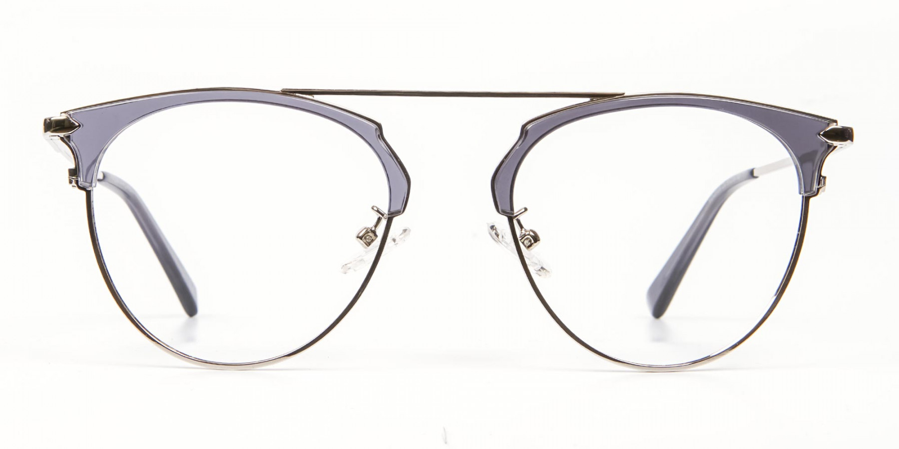 Translucent Browline Spring Hinge Glasses - 1
