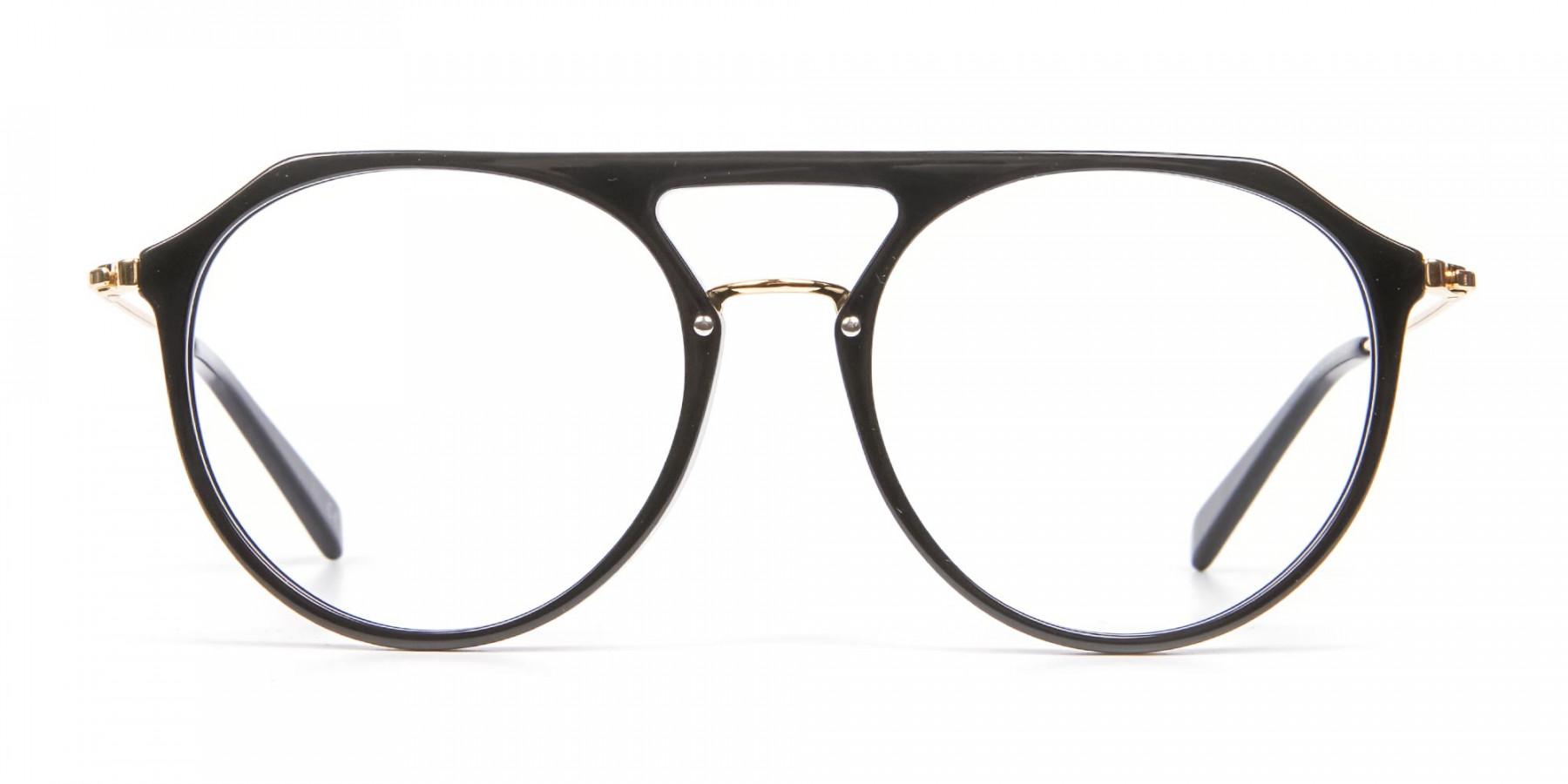 Delicate Designer Double-Bridged Glasses in Black and Gold - 1