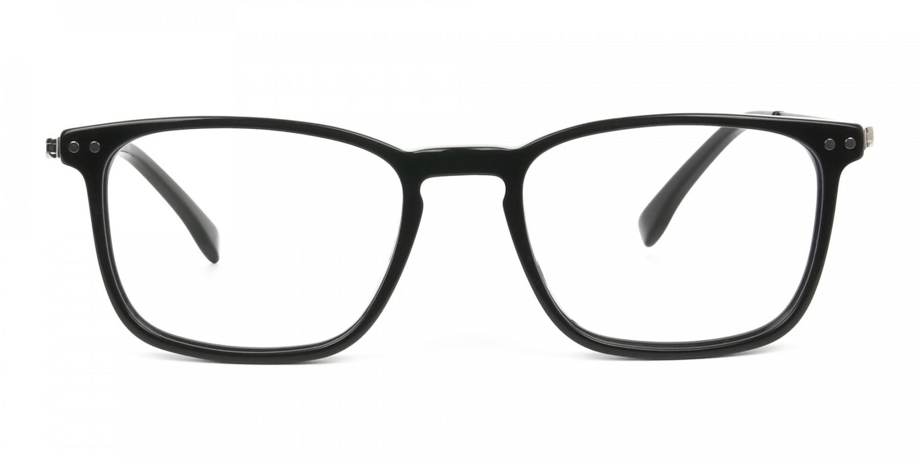 Designer Black Frame glasses in Rectangular - 1