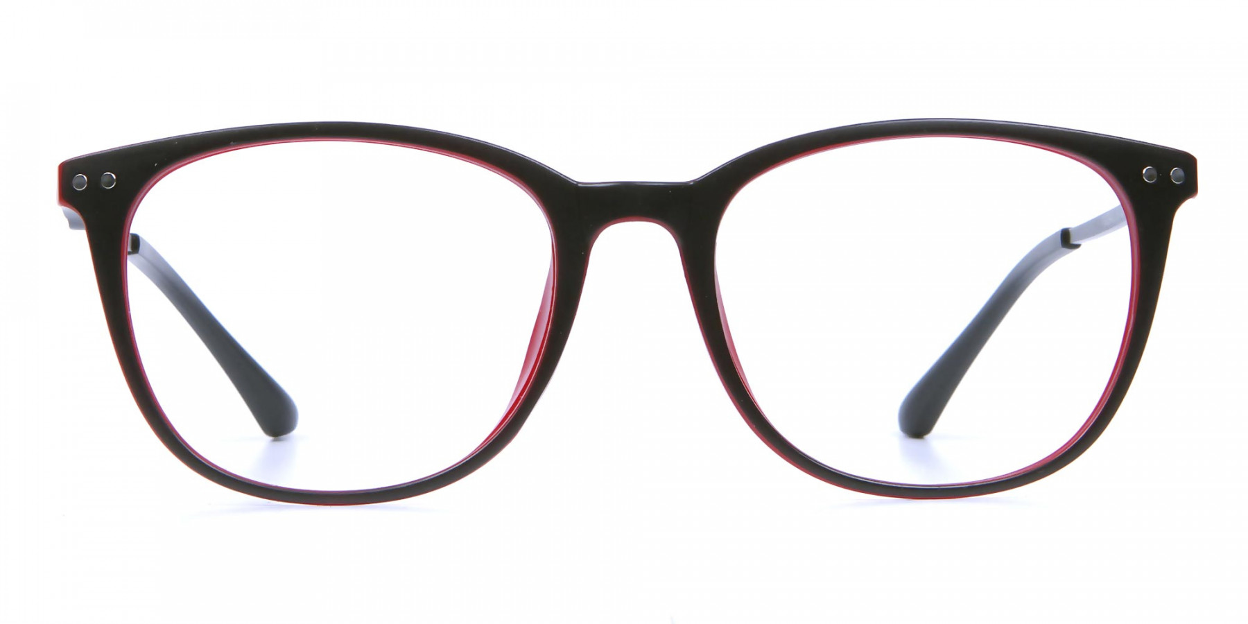 Black & Red Round Glasses, Eyeglasses