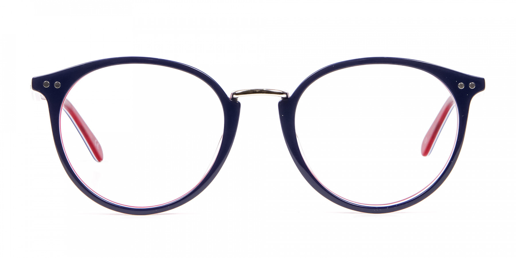 Navy Blue & Red Glasses