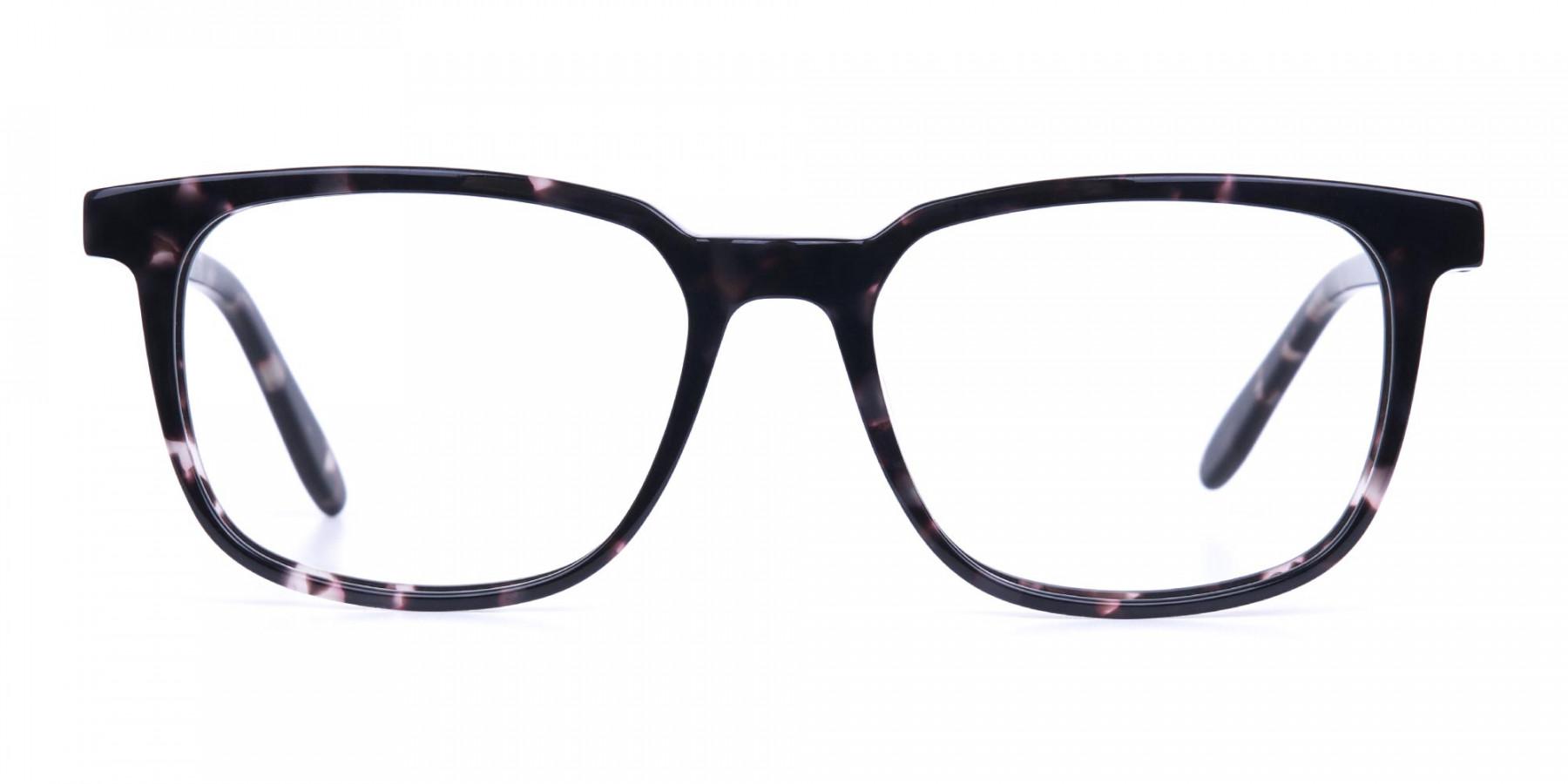 Dark Tortoise Rectangular Glasses Acetate Unisex-1