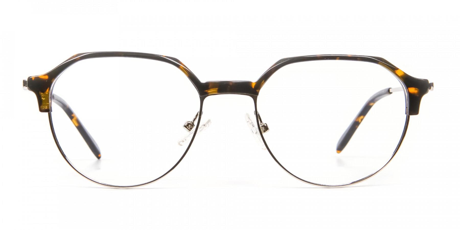 Havana & Tortoiseshell Browline Style Glasses - 1