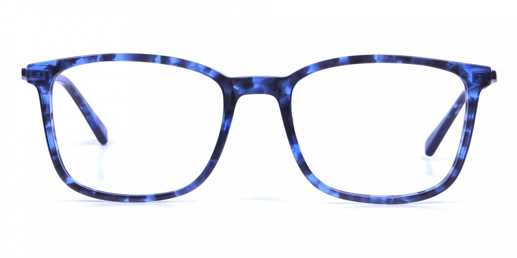 Men Women Rectangular Frame Blue Tortoise-1