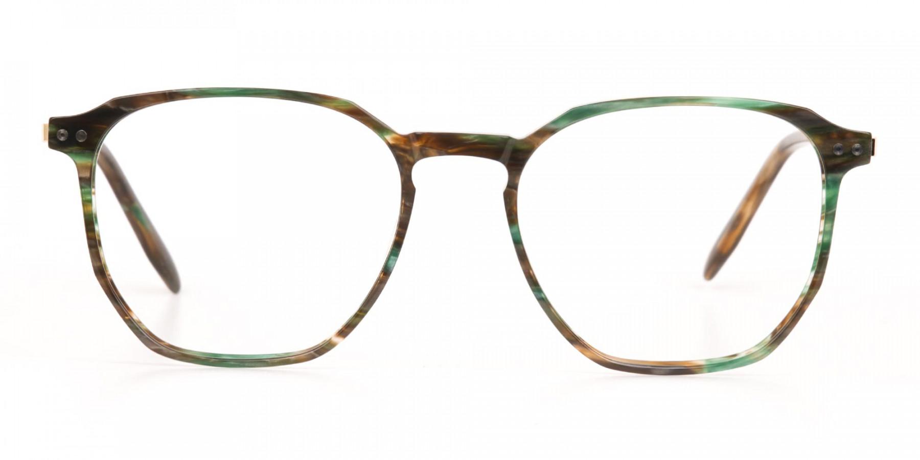 Jade Green & Brown, Gold Geometric Glasses-1