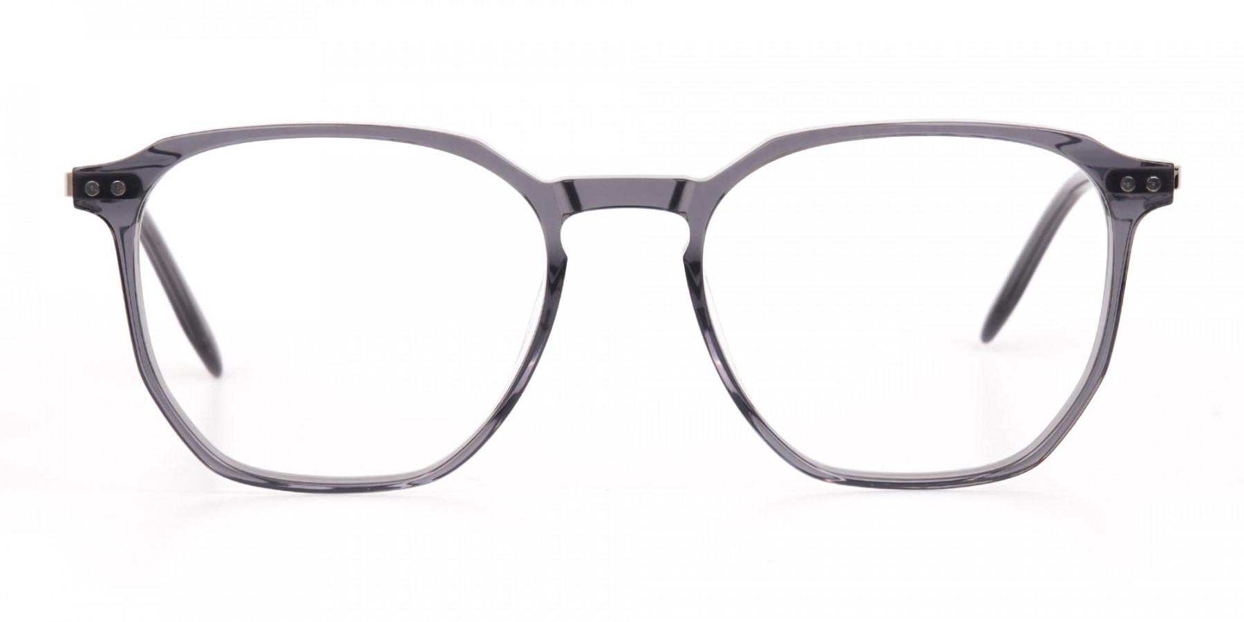 Silver Grey Geometric Eyeglasses Frame Unisex-1