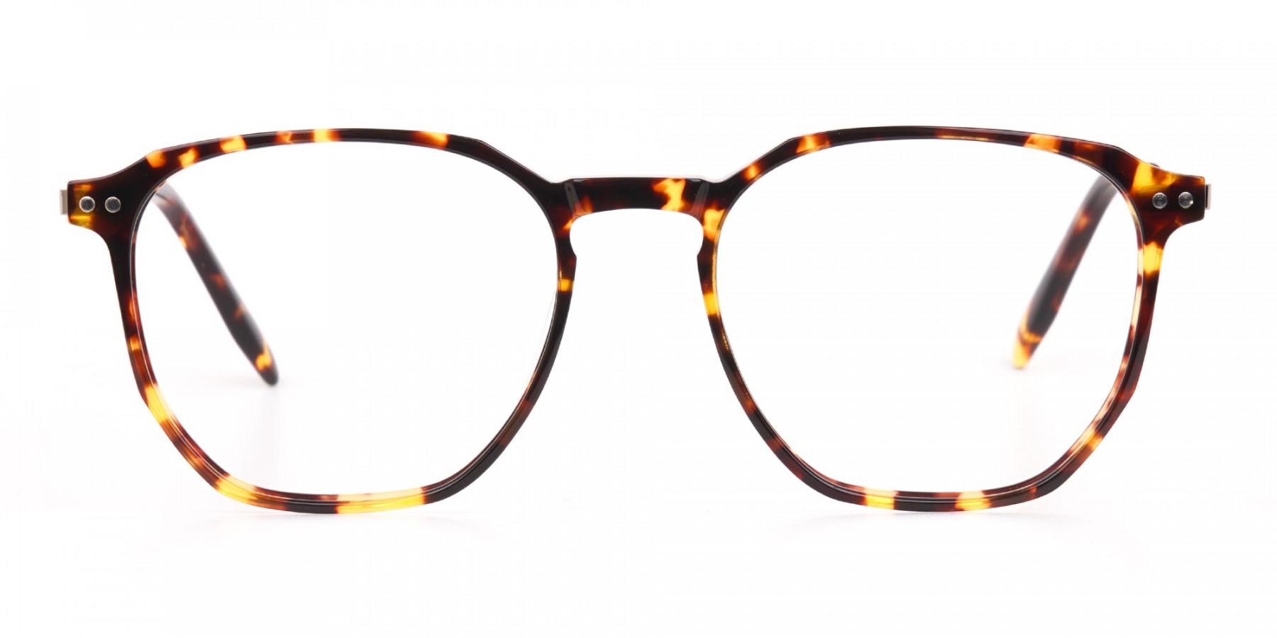 Tortoise Geometric Glasses Frame Unisex-1