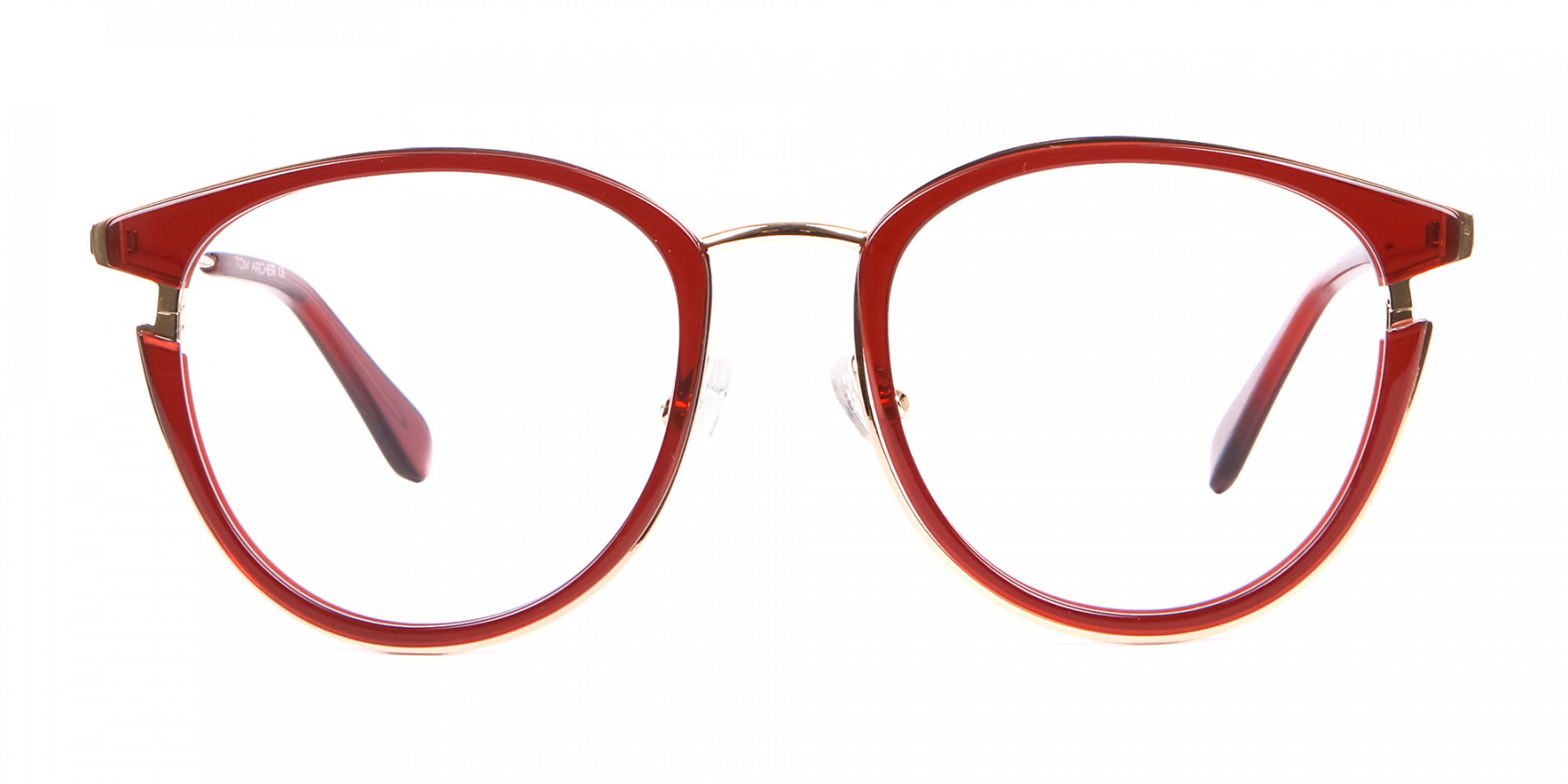 Unisex 50's Round Cat-eye Frame in Red & Gold-1