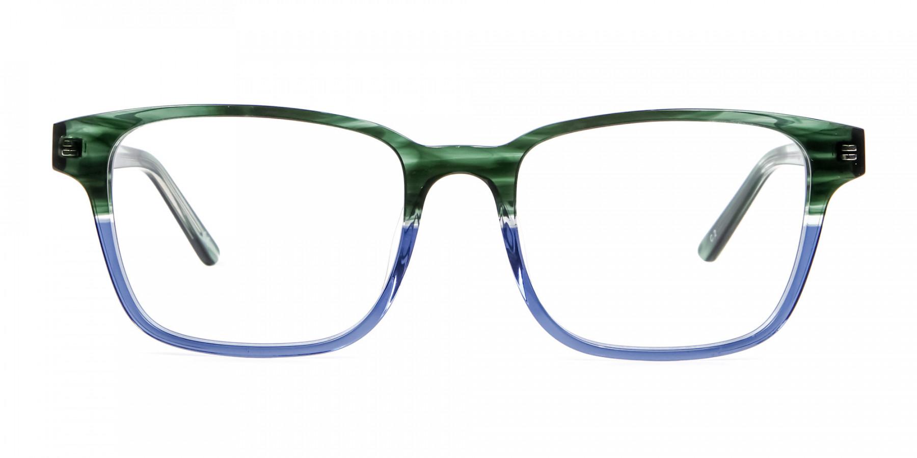 Green & Blue Rectangular Glasses