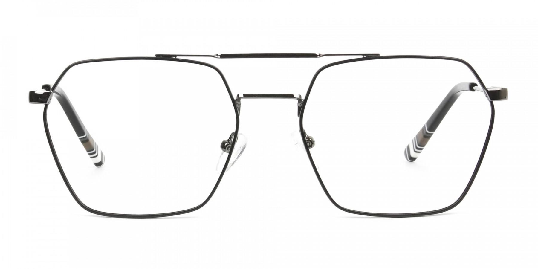 Hipster Geometric Black & Gunmetal Thin Metal Frame Glasses - 1