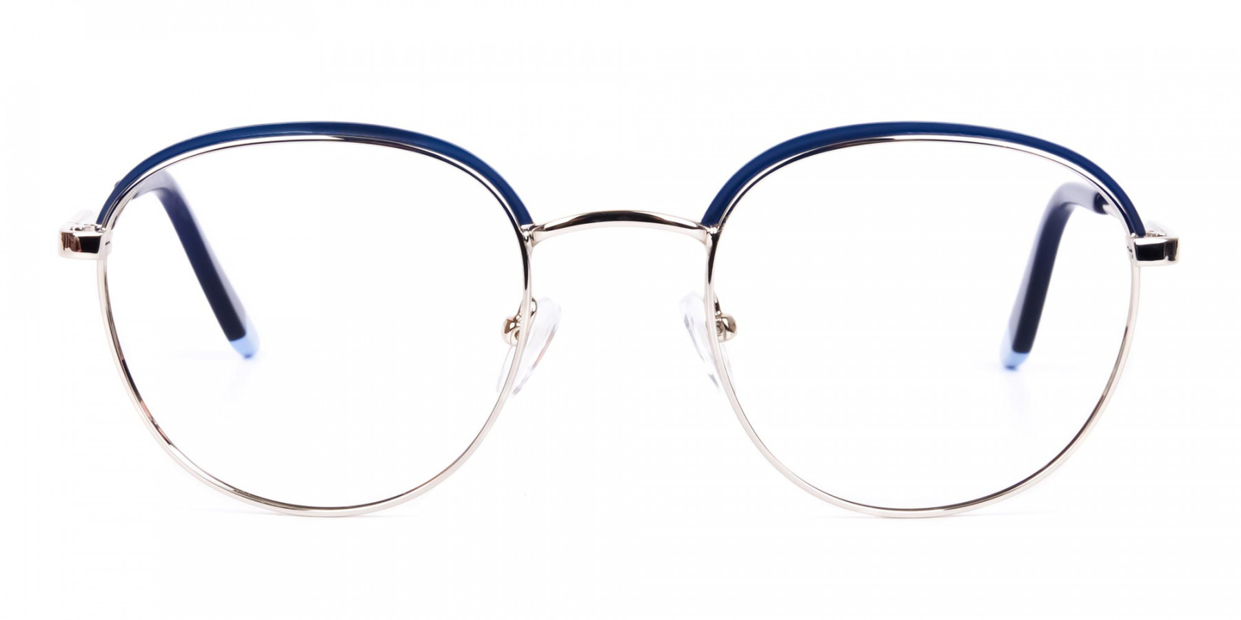 Navy Blue Silver Round Aviator Glasses-1