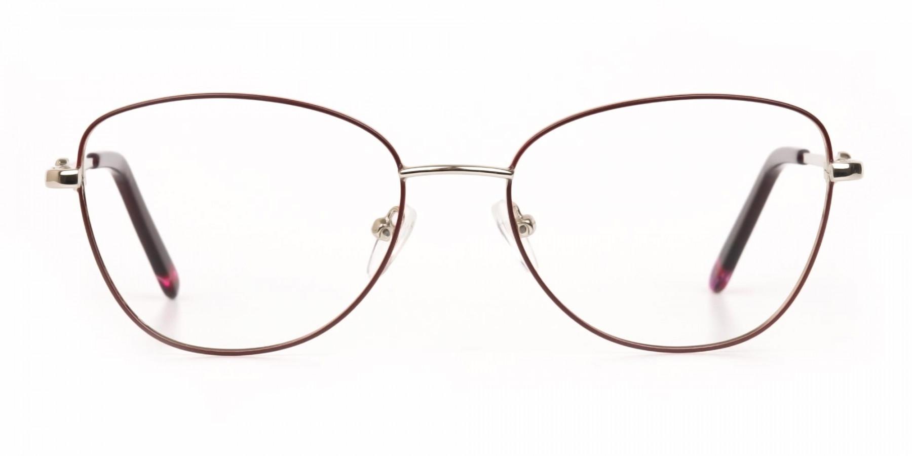Black & Silver, Red  Metal Cat Eye Glasses Women-1