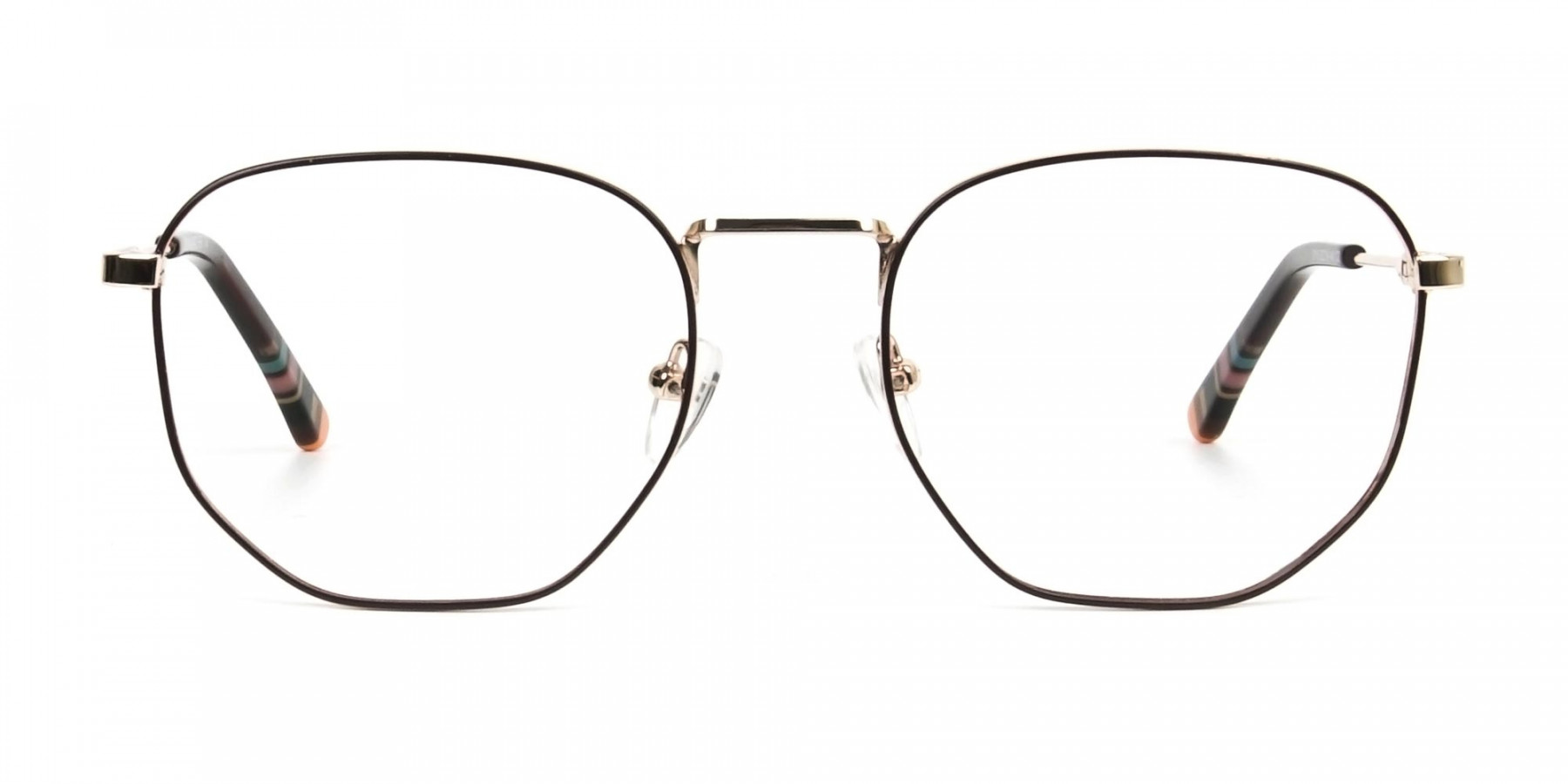 Geometric Brown & Gold Spectacles - 1