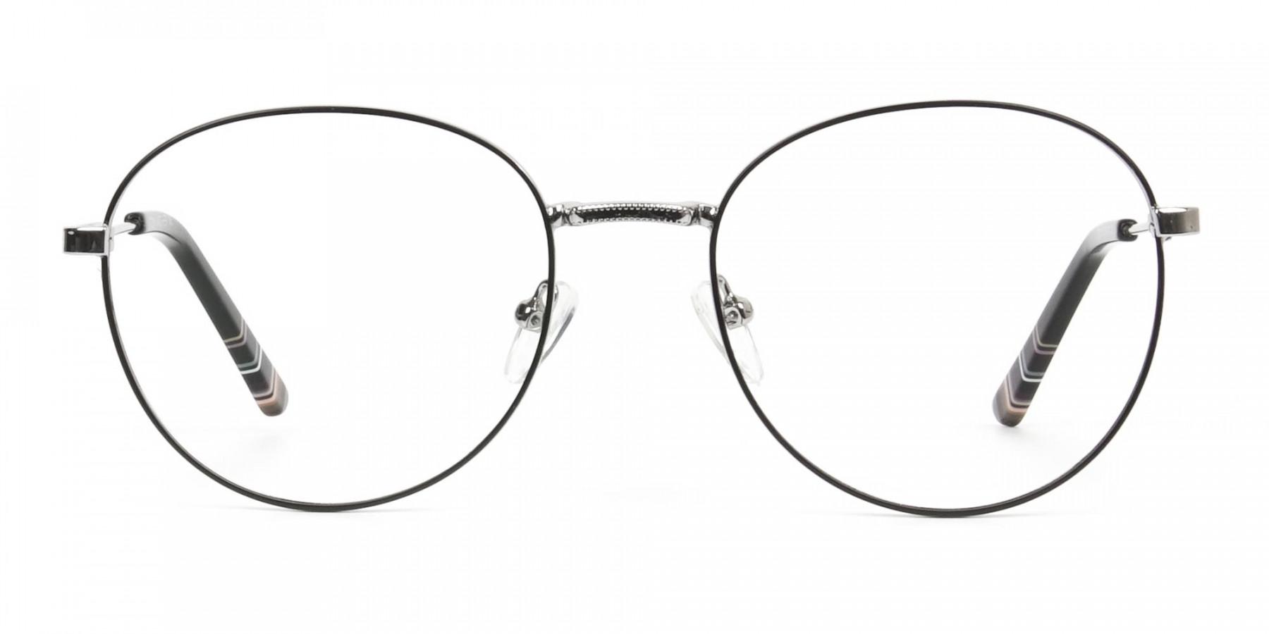 Black & Silver Weightless Metal Round Glasses - 1