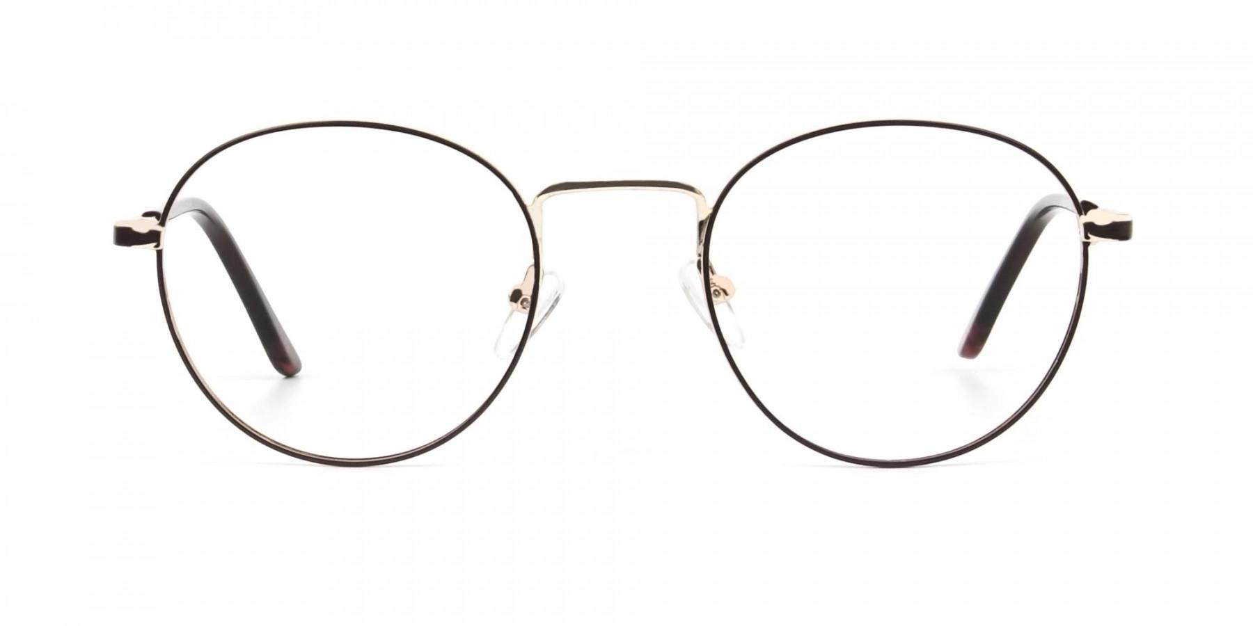 Dark Brown Gold Metal Frame Spectacles - 1