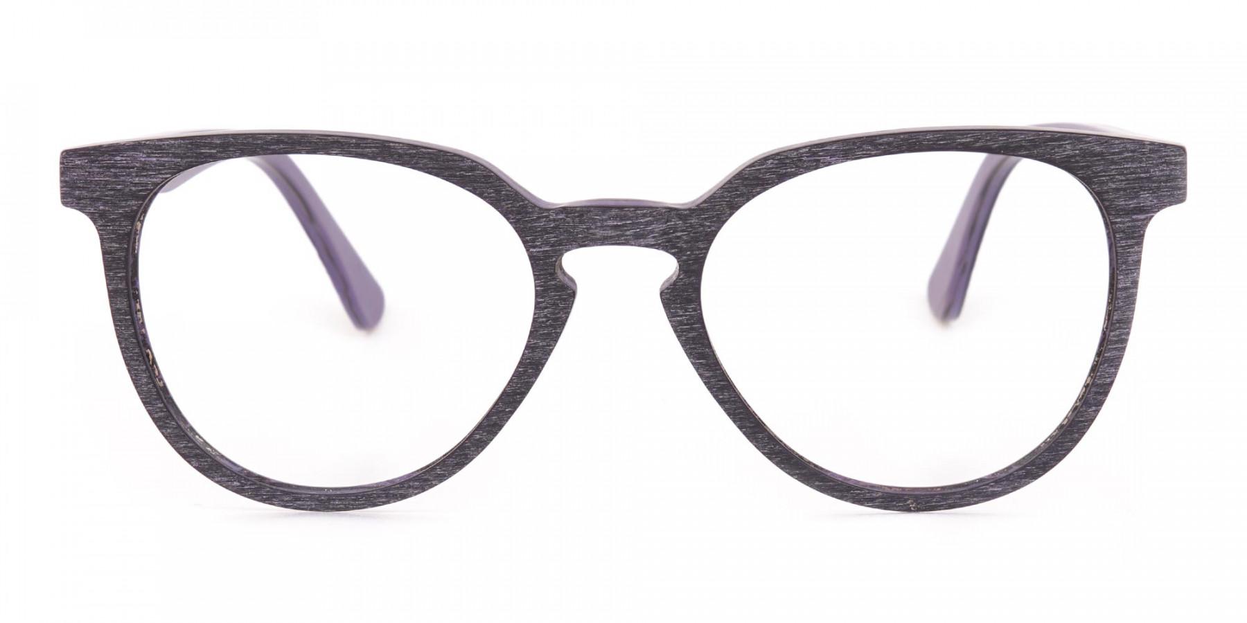 Purple Dark Violet Wood Glasses Frame Unisex-1