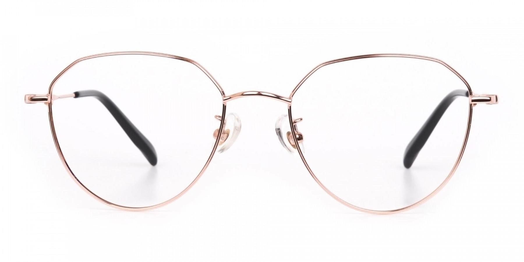 Rose Gold Metal Aviator Glasses Frame Unisex-1