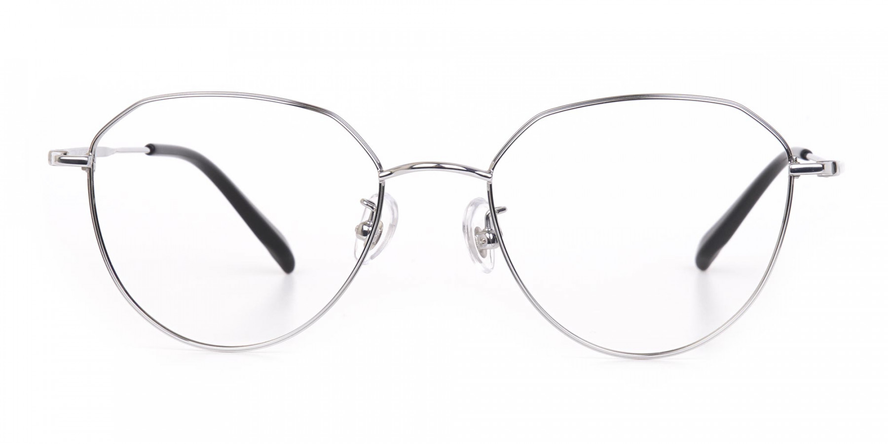 Silver Metal Aviator Glasses Frame Unisex-1