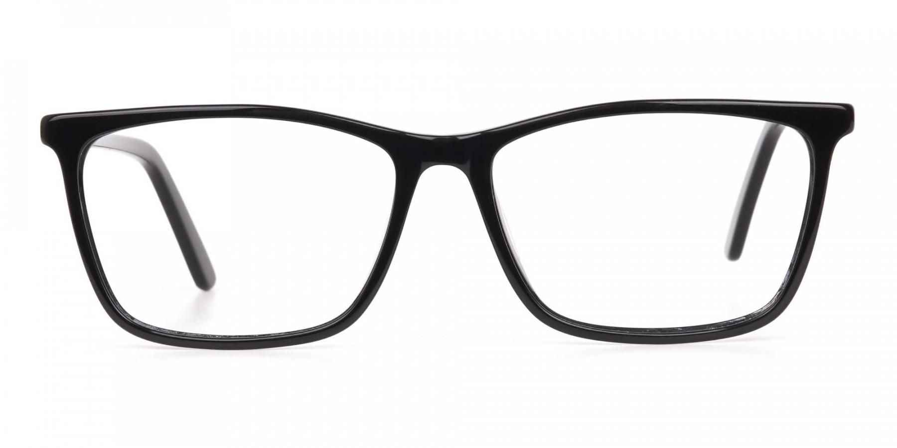 Women Black Rectangle Designer Glasses Frame-1