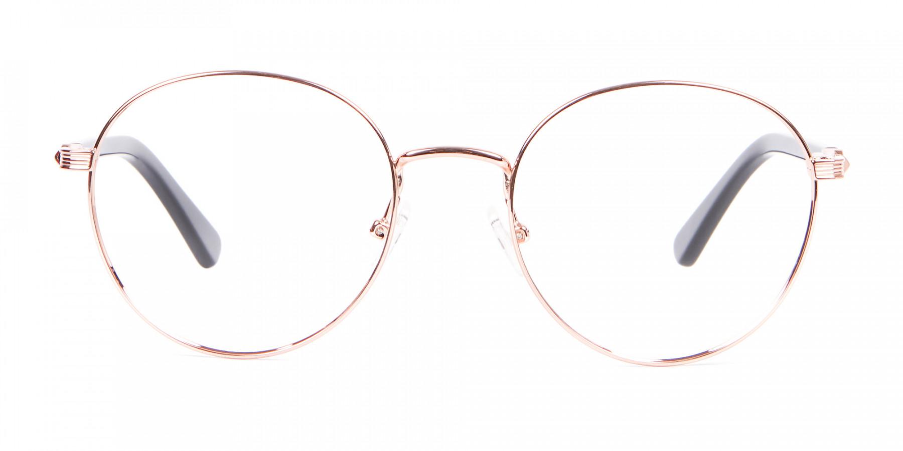 Female Rose Gold Retro Inspired Round Frame-1