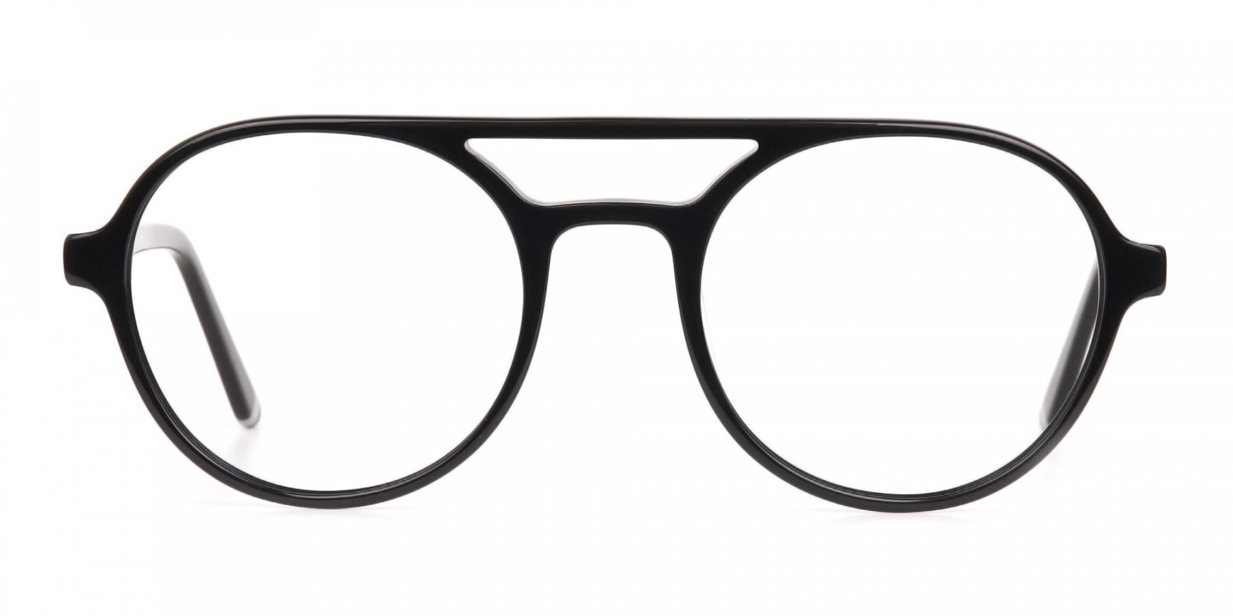Black Double Bridge Designer Glasses Frame Unisex-1