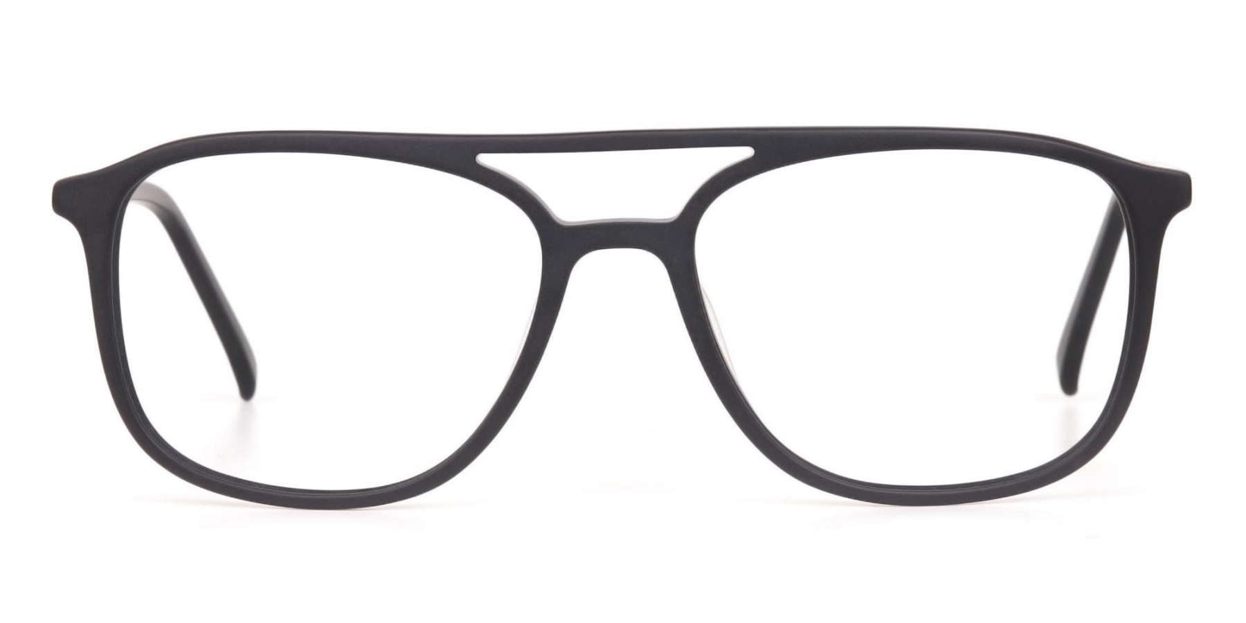Rectangular Matte Black Double Bridge Glasses-1