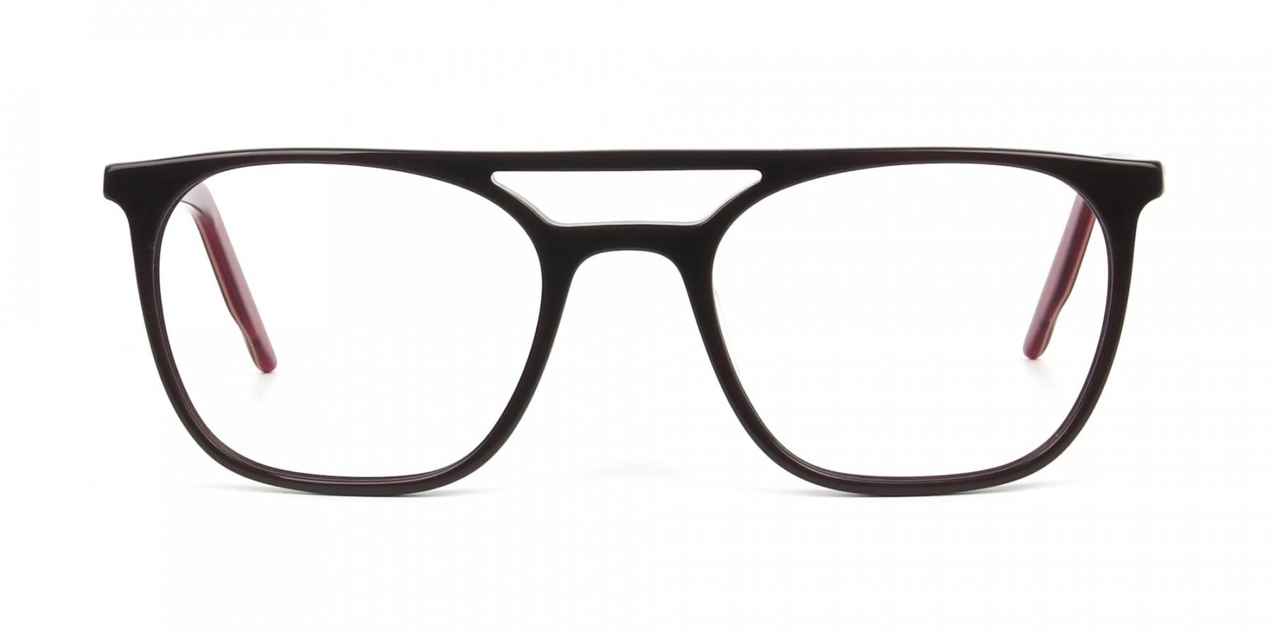 Dark Brown & Red Aviator Spectacles  - 1