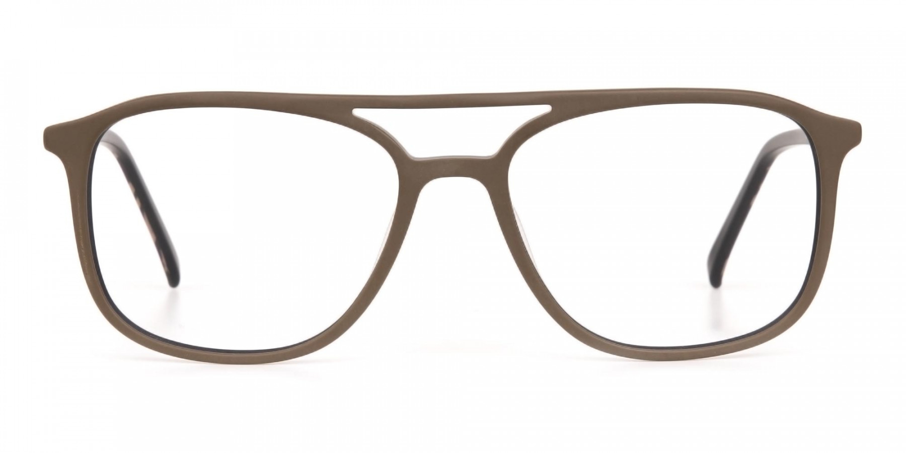 Rectangle Oak Brown & Tortoise Double Bridge Frame-1