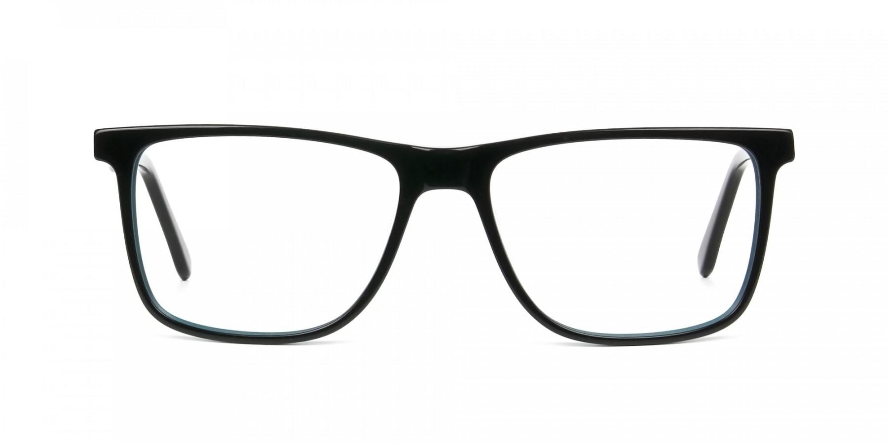 Designer Black & Teal Spectacles in Rectangular - 1