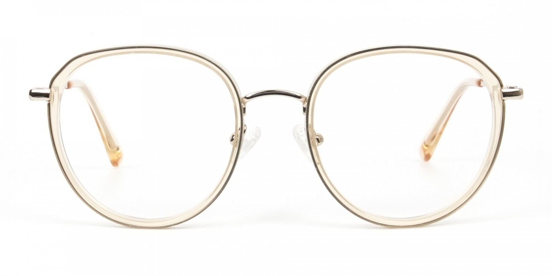 Rose Gold Thick Metal Round  Glasses - 1