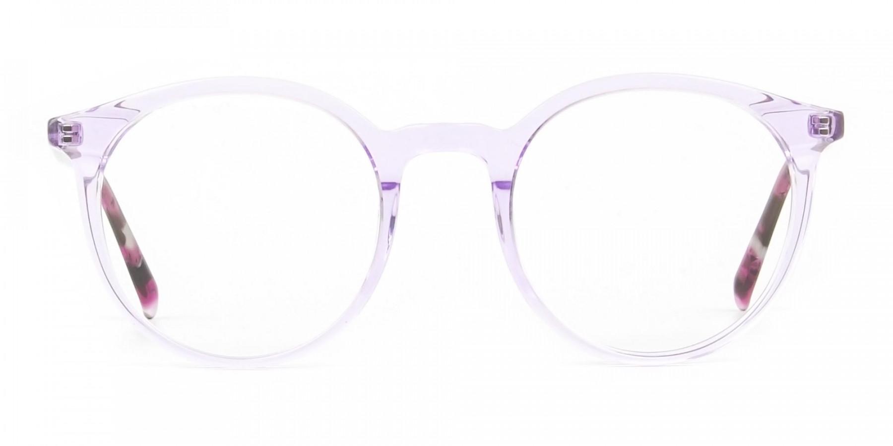 Crystal Pastel Purple & Rose Red Tortoise Glasses - 1