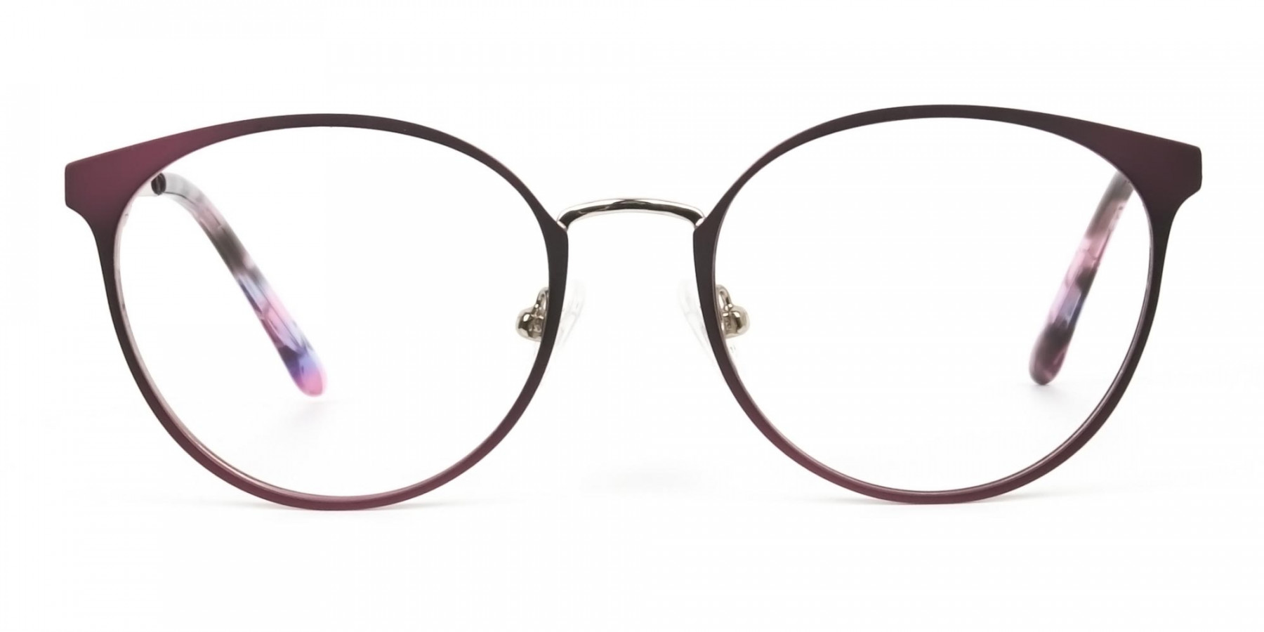 Silver Burgundy Red Spectacle Frames in Round  - 1