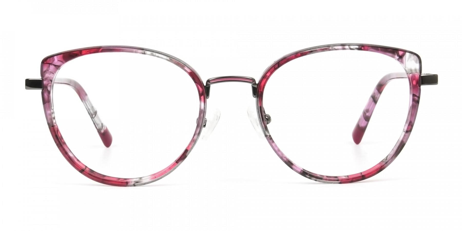 Red Tortoise Cat-Eye Glasses in Round - 1