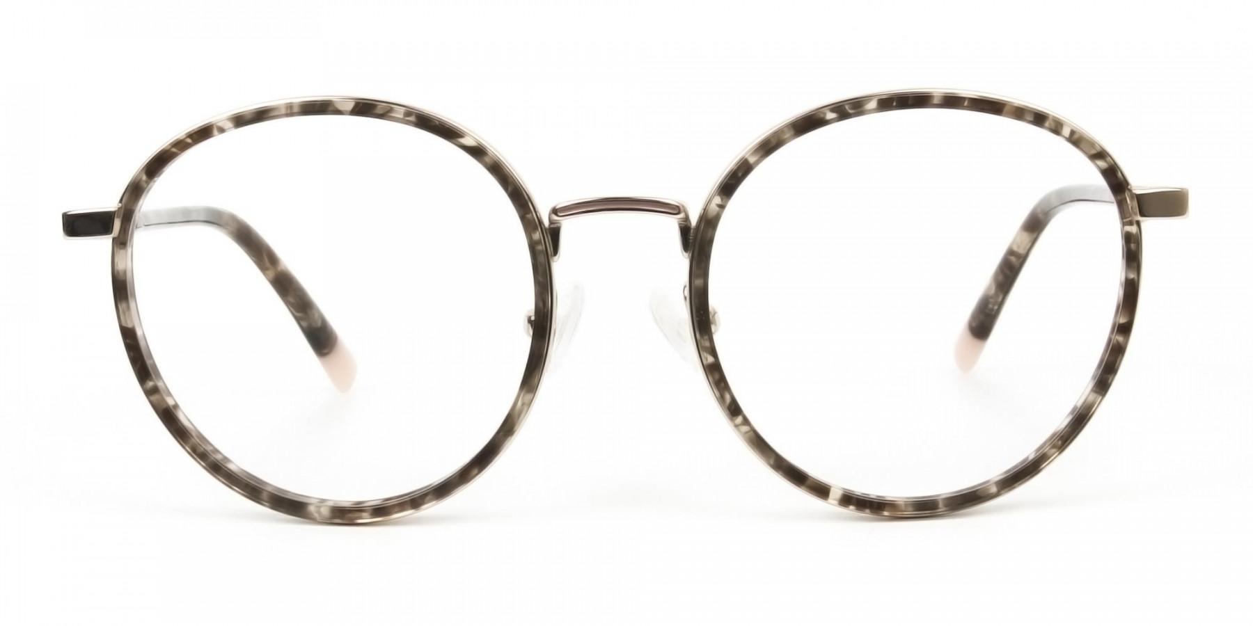 High Nose Bridge Glasses in Tortoiseshell Round Frame -1