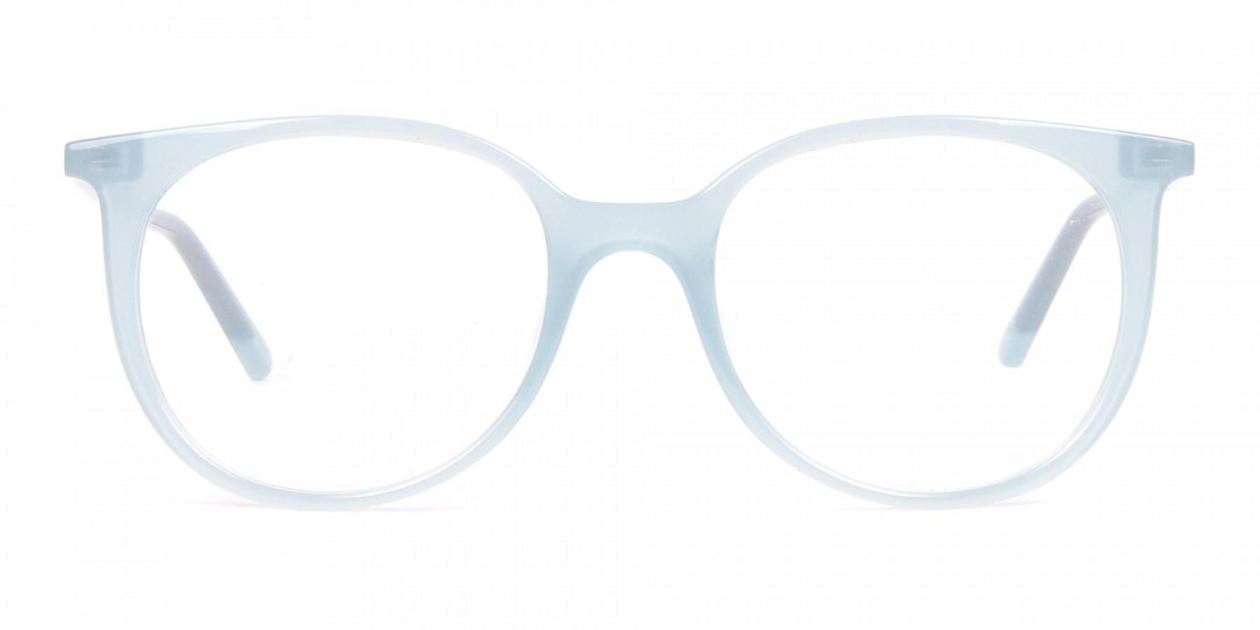 Calvin Klein CK19508 Milky Blue Classic Round Glasses-1