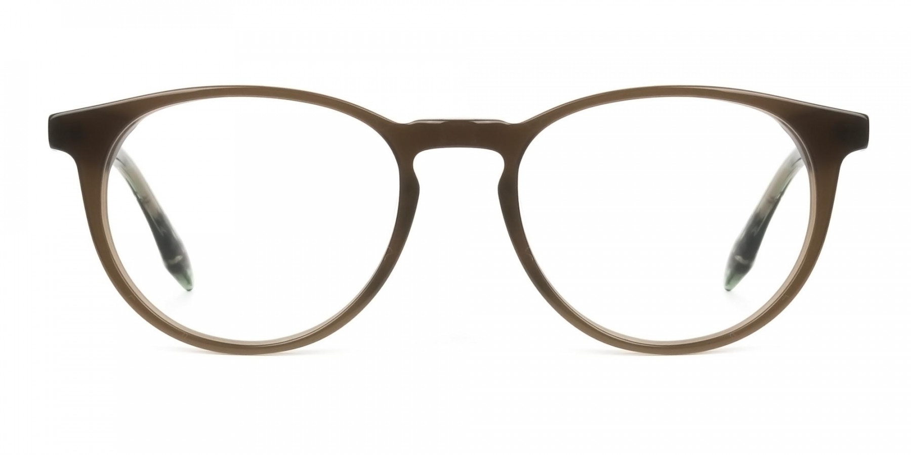 Keyhole Mocha Brown & Marble Hunter Green Glasses in Round - 1
