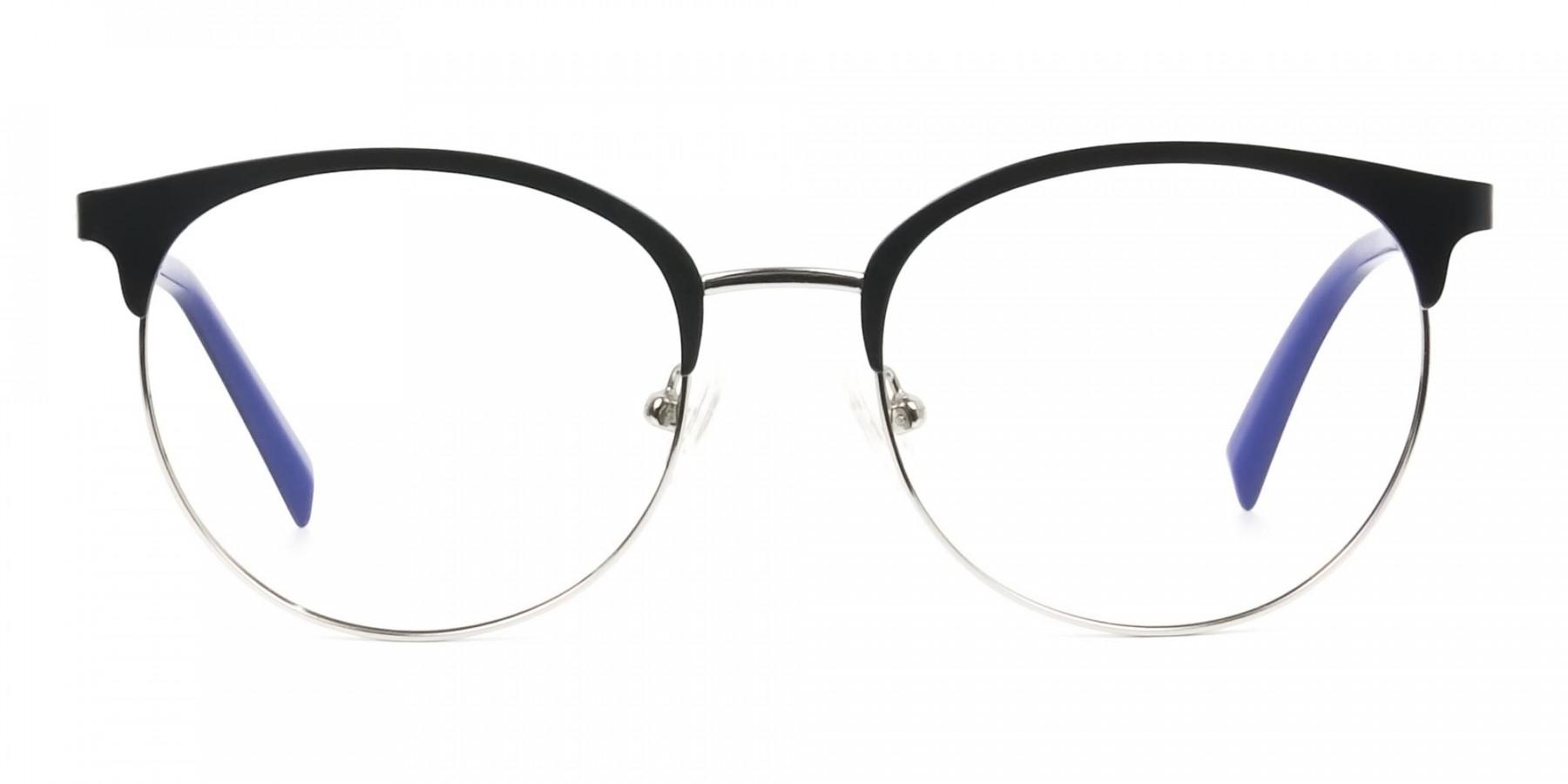 Round Navy Blue Silver Clubmaster Glasses Men Women - 1