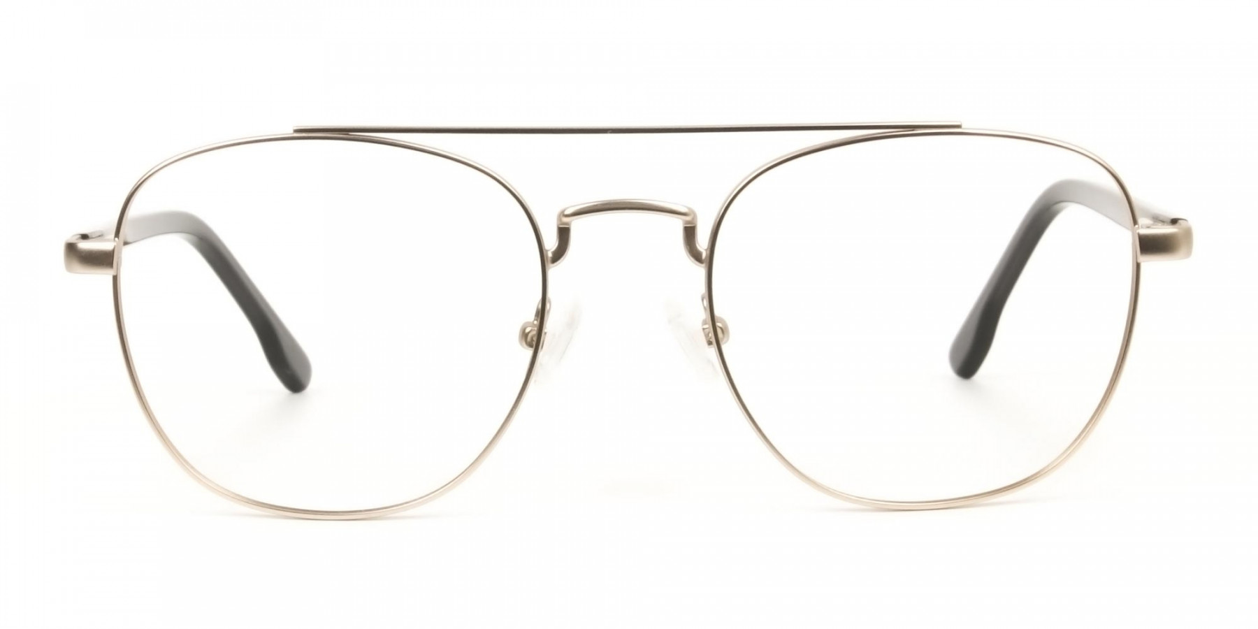 Black and Gold Wayfarer Aviator Glasses in Metal - 1