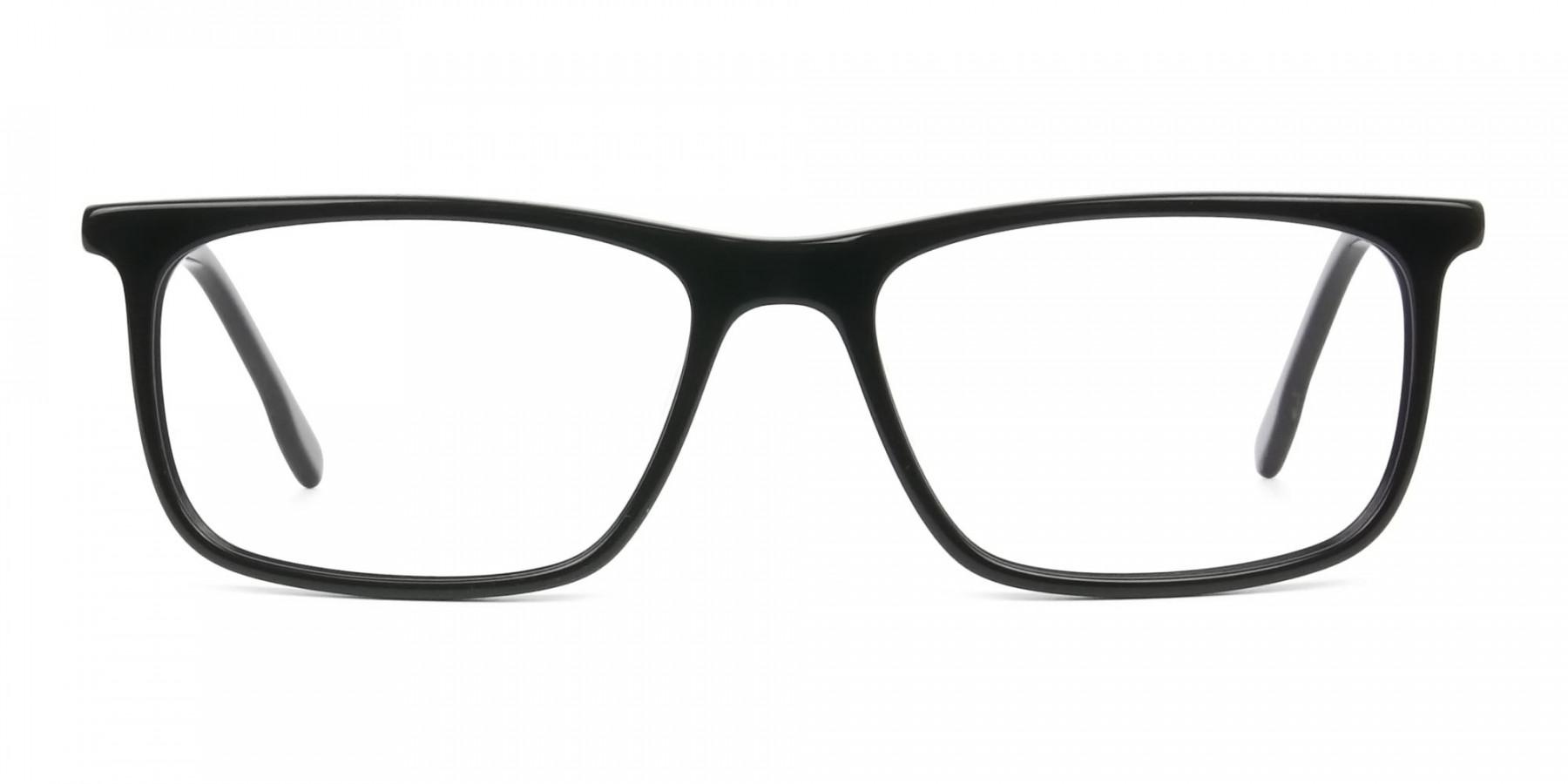 Black Acetate Spectacles in Rectangular - 1