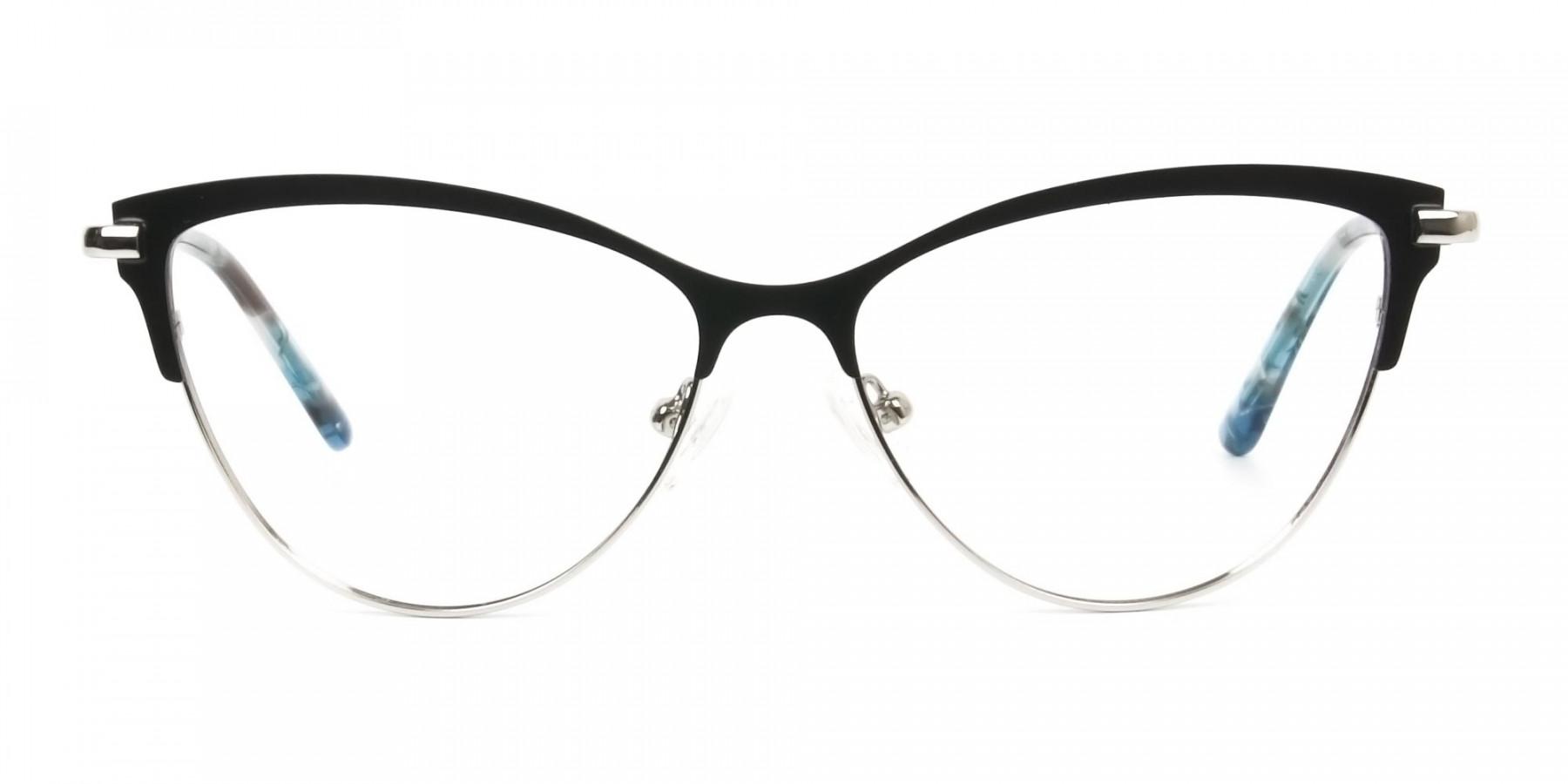 Silver & Black Cat Eye Browline Glasses - 1