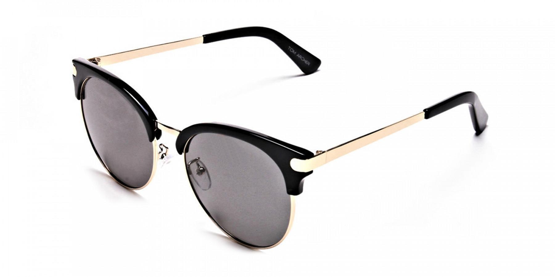 Gold Browline Sunglasses, Gold Eyeglasses -2