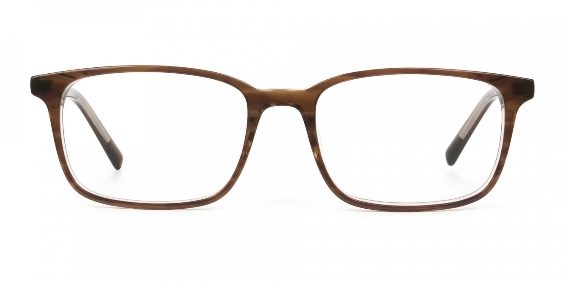 Hazel Brown Eyeglasses Rectangle & Acetate Frame - 1