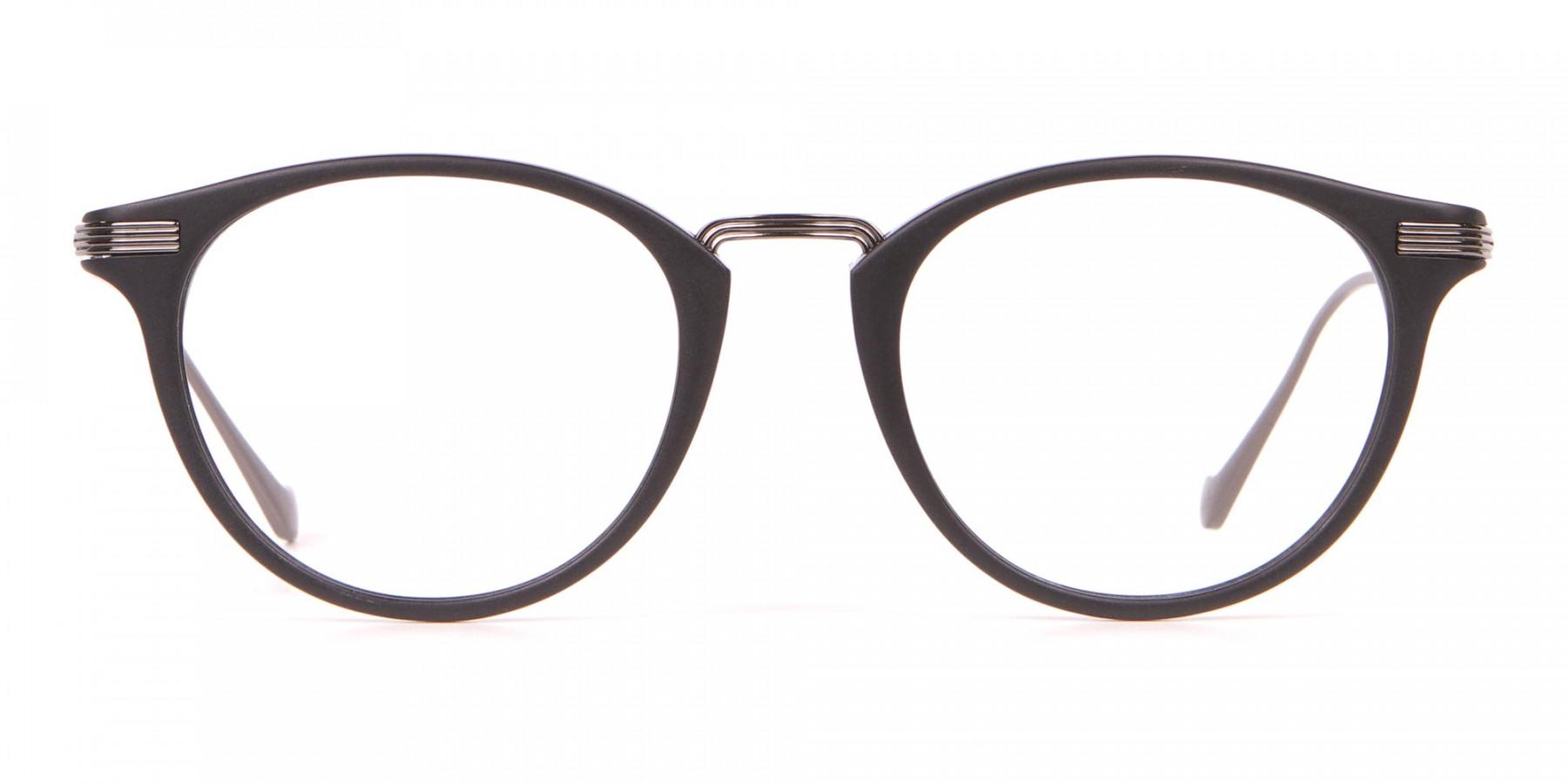HACKETT HEB173 Bespoke Retro Round Glasses in Matte Black-1