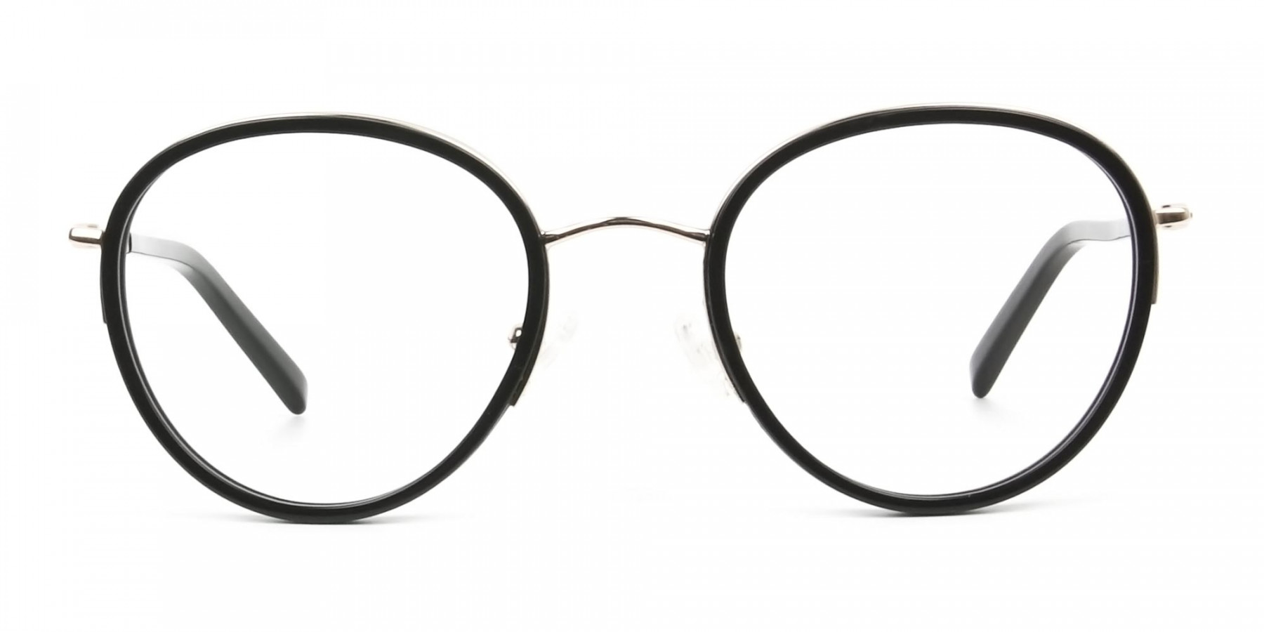 Retro Black & Silver Circular Glasses - 1