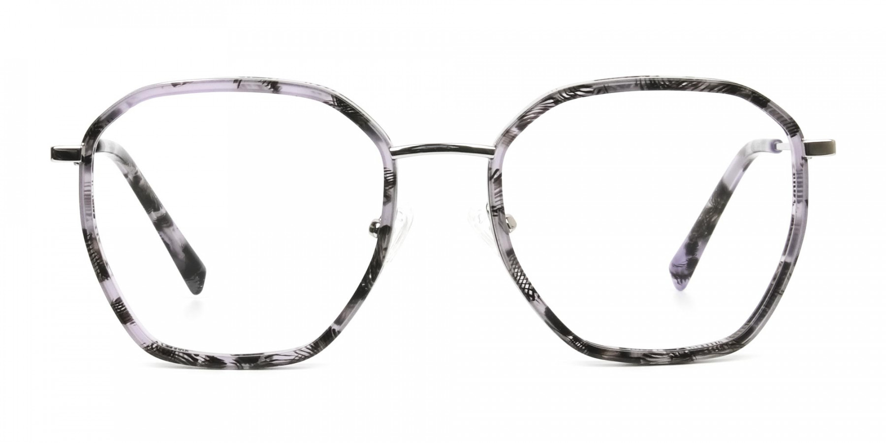 Octagon Glasses in Grey Lilac Tortoise with Silver Temple - 1