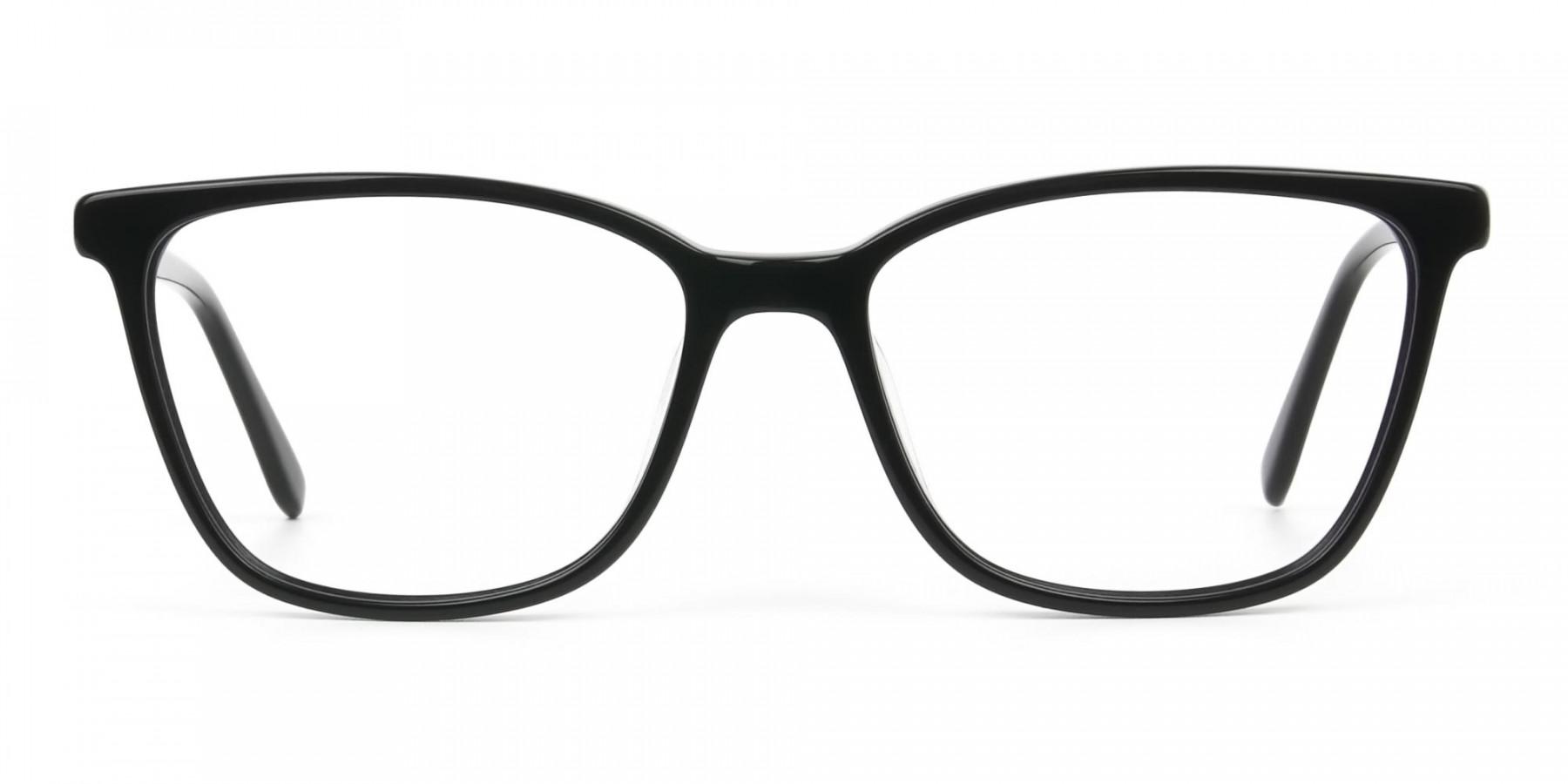 Women Nerd Black Acetate Spectacles in Rectangular - 1